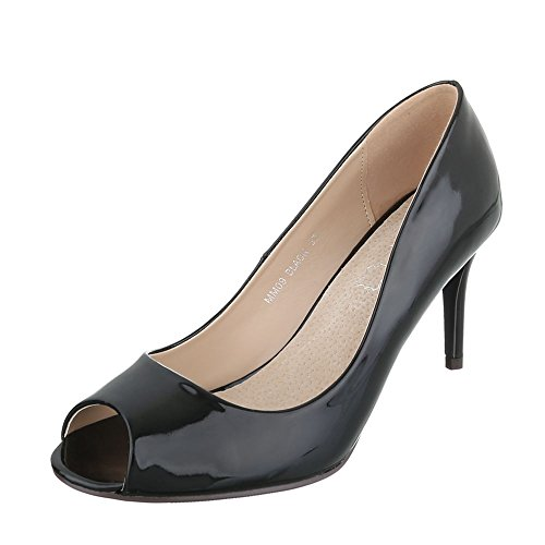 Ital-Design Peep Toe Damenschuhe Peep-Toe Pfennig-/Stilettoabsatz High Heels Pumps Schwarz