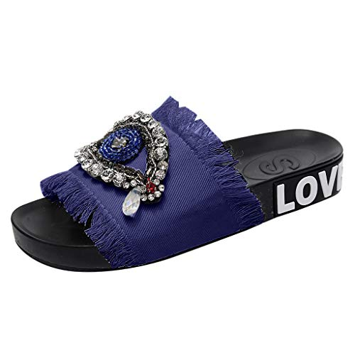 Xinantime Women's Glitter Slippers Slide in PVC Molded Footbed Flatform Sandal Bohemia Rhinestone Shoes Dark Blue ()