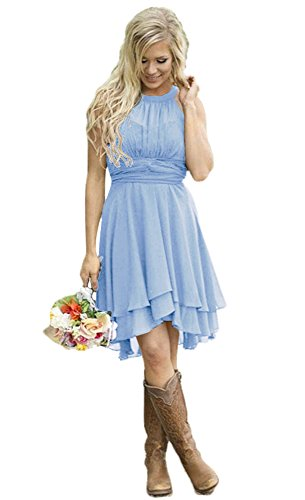(Andybridal Women's Country High Low Halter Chiffon Bridesmaid Dress Western Wedding Guest Dress Sky Blue 14)