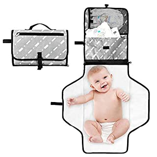 Portable Baby Diaper Changing Pad Clutch, Waterproof Changing Station Kit for Baby Diapering - Cushioned, Detachable and Wipeable Pad - Large Storage Bag