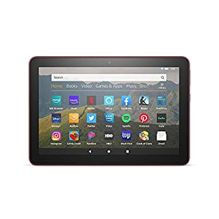 "All-new Fire HD 8 tablet, 8"" HD display, 64 GB, designed for portable entertainment, Plum"