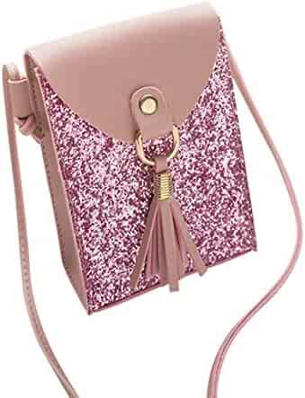 be1f6be7d9 Yihaojia Leather Fashion Sequins Tassels Cover Crossbody Bag Shoulder Bag  Phone Bag for Women (Pink