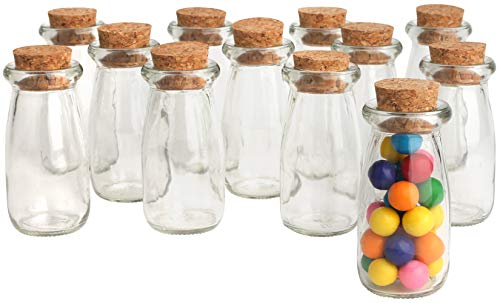 Mantello Mini Glass Jars Milk Bottles with Cork Top, Party Favors, Wedding Favors, Baby Showers, Bud Vases (Set of 12)]()