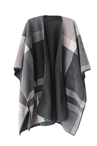 VamJump Women Winter Cashmere Oversized Blanket Poncho Cape Shawl Cardigan Coat, Grey,onesize (Plaid Poncho)