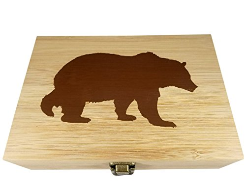 Bamboo Wood Hinged Cigar Storage Stash Box -8.5 x 6 x 2.5 Inches (Bear) by Stash & Stuff (Image #1)