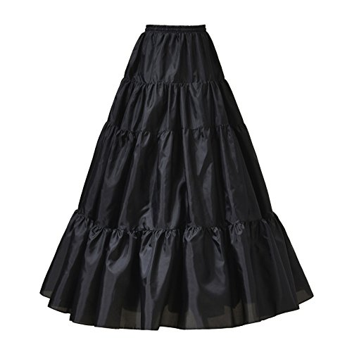 AW A Line Petticoat Skirt Floor Length Wedding Petticoat Hoopless Crinoline Underskirt Black, (Floor Length A-line Skirt)