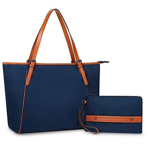 (YALUXE Women's Oxford Nylon Large Capacity Work Tote Shoulder Bag Fit 17'' Laptop blue )