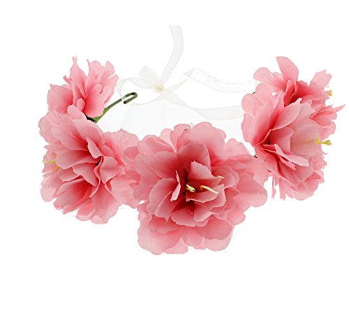 (Zac's Alter Ego Very Large Two Tone Flower Wire Garland With Ribbon One Size Adjustable Pink )