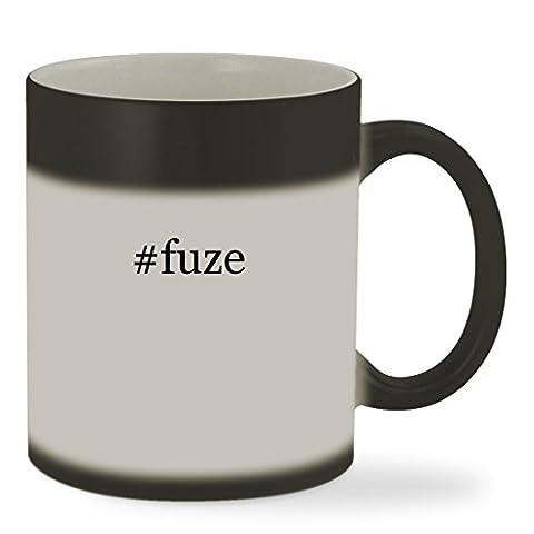 #fuze - 11oz Hashtag Color Changing Sturdy Ceramic Coffee Cup Mug, Matte Black (Fuze Peach Mango)