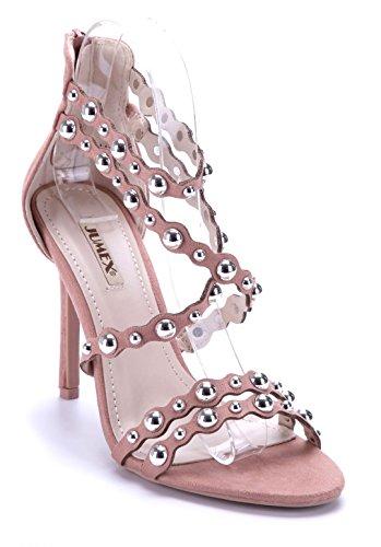 Schuhtempel24 Damen Schuhe Sandaletten Sandalen Stiletto Nieten 10 cm High Heels Rosa