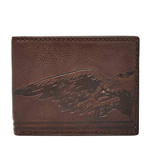 Fossil Embossed Wallet - Relic by Fossil Men's Tyler Embossed Traveler Leather Wallet, Brown, One Size