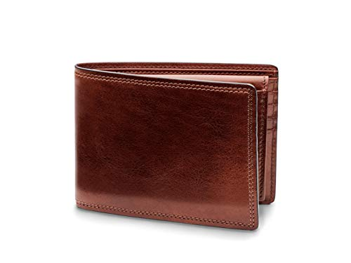 Bosca Men's Credit Leather Wallet with I.D. Passcase In Dark Brown