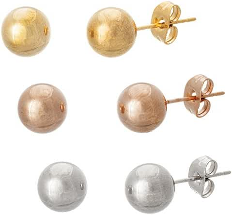 Rose Gold Gold Silver Tone Stainless Steel Polished 8mm Ball Studs 3 Pair Set