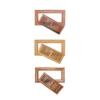 """BambooMN 6 3/4"""" Inch x 12 5/8"""" Inch Strand Woven Bamboo Floor Register Air Vent Flat Cover"""