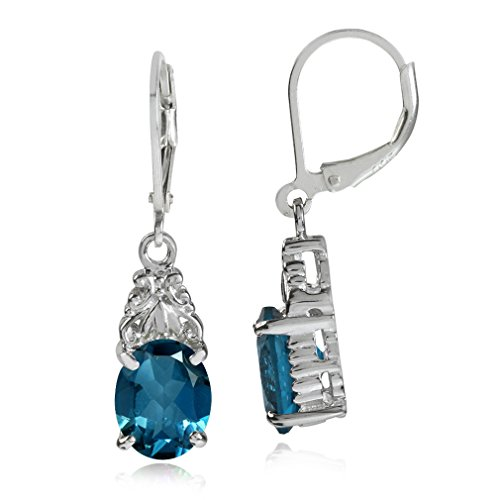 6.54ct. Genuine London Blue Topaz White Gold Plated 925 Sterling Silver Leverback Earrings