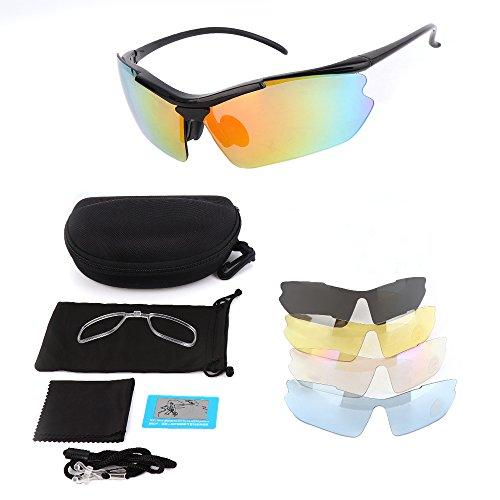 Polarized Sports Sunglasses, KEMIMOTO Motorcycle Rider Glasses With 5 Lenes Kits for Men Women Cycling Running Driving Fishing Golf Baseball Glasses by KEMIMOTO