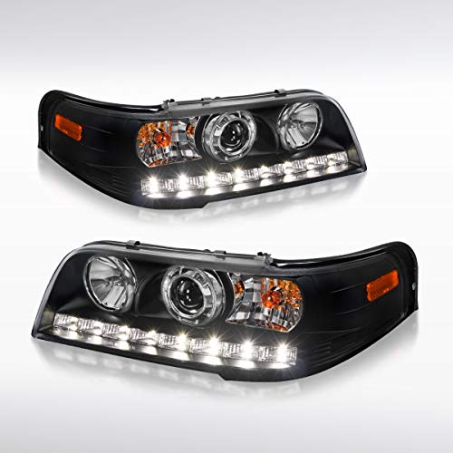 Autozensation Ford Crown Victoria Euro Black 1PC Style LED Projector Headlights ()