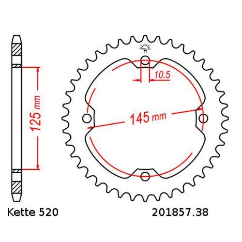Kettensatz geeignet f/ür Yamaha YFM 700 R Raptor 06-18 Kette RK 520 GXW 98 offen 14//38