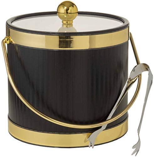 Hand Made In USA Black With Dual Gold Bands Double Walled 3-Quart Insulated Ice Bucket With Bonus Ice - Import Big Bands