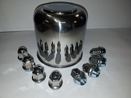 4 Trailer Lug & Cap Sets - Stainless Hub Cover & 8 SS Lugs 4.90