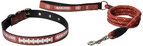 San Francisco 49ers Brown Football - GameWear NFL San Francisco 49ers Pebble Grain Football Collar & Leash Gift Pack, Large, Brown