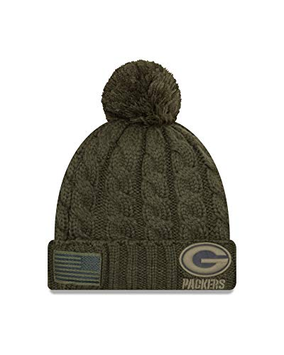 New Era Women 2018 Salute to Service Sideline Cuffed Knit Hat - Olive (Green Bay Packers)