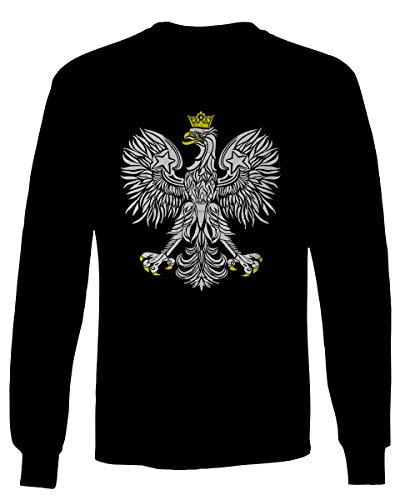 - Vintage Poland Flag Coat of Arms Polska Polish Eagle Men's Long Sleeve t Shirt (Black, Medium)