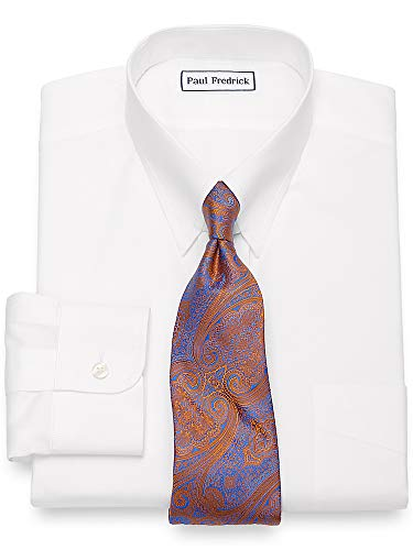 Paul Fredrick Men's Non-Iron Cotton Pinpoint Snap Tab Collar Dress Shirt White 18.0/35