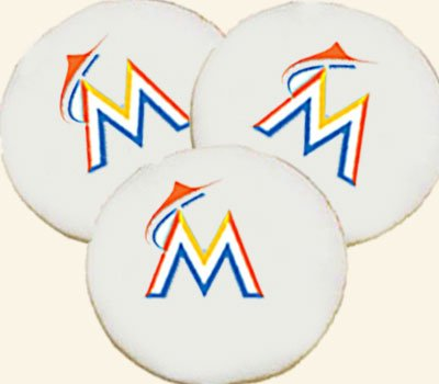 Florida Marlins Logos - Florida Marlins Logo Cookie, Baseball Cookies, Dozen - USA Delivery
