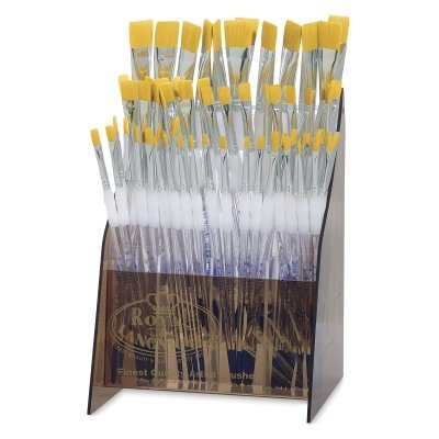 Royal Brush Grip Soft (Royal Brush Soft Grip Golden Taklon Brush Classroom Pack, Assorted Flats, Pack of 72)