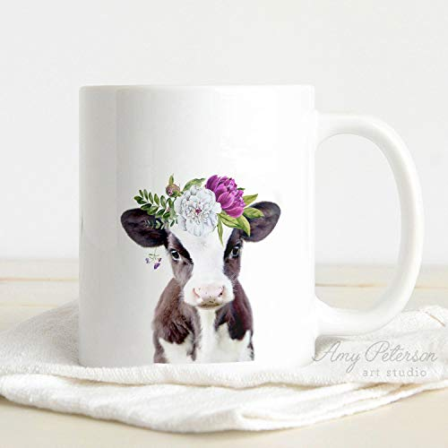 (Baby Cow with Flower Crown Coffee Mug, Baby Farm Animal Whimsy Animal Art by Amy Peterson)