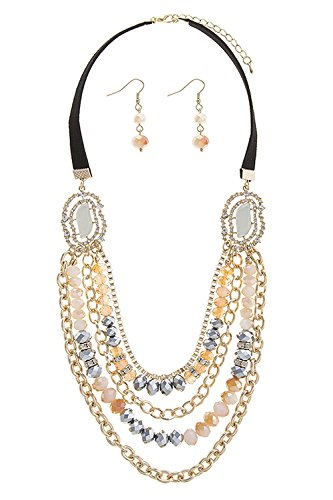 TRENDY FASHION JEWELRY FAUX GEM ACCENT MULTI STRAND BEADED NECKLACE SETNECKLACE BY FASHION DESTINATION | (Beige)