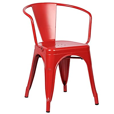 Poly and Bark Trattoria Arm Chair in Red - Powder coated iron Stackable. Non-Marking Feet Caps Minimal Assembly Required - kitchen-dining-room-furniture, kitchen-dining-room, kitchen-dining-room-chairs - 41INTY68btL. SS400  -