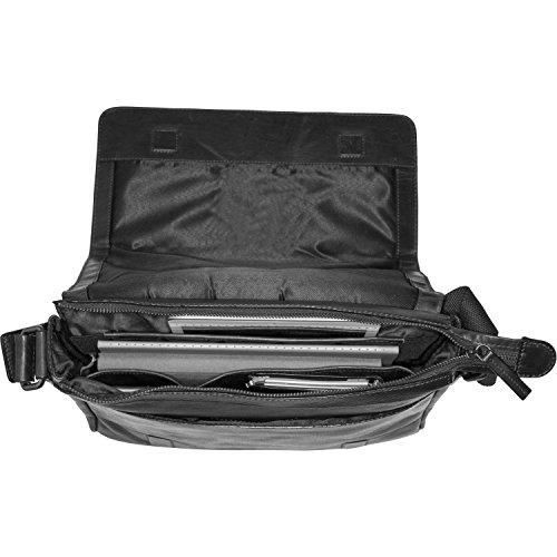 piel Roma Heyden cm Laptop bandolera Schwarz Schwarz Bolso 31 compartimento Leonhard Messenger w4CZ611n