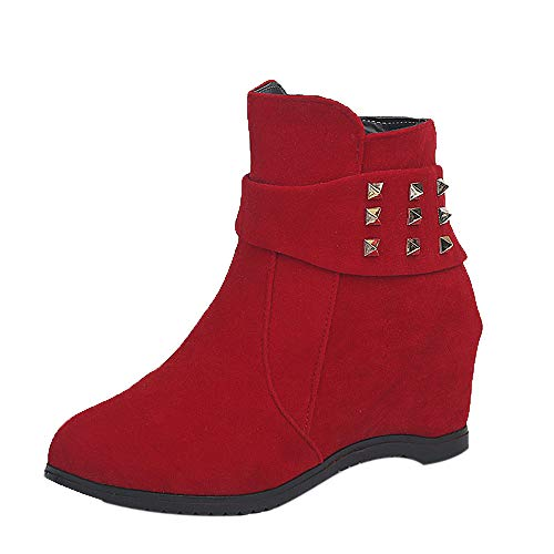 LIM&Shop ⭐ Women's Height-Ankle Fashion Wedge Platform Pumps Shoes Chelsea Boots High Top Sneaker Bootie Studded Straps Red