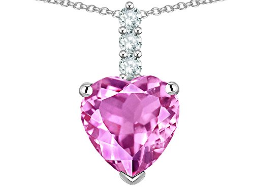 (Star K 8mm Heart Shaped Created Pink Sapphire Three Stone Pendant Necklace 14 kt White Gold)