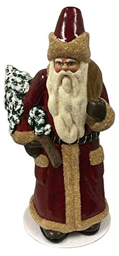 - Pinnacle Peak Trading Company Ino Schaller Red Cream Santa Tree German Paper Mache Candy Container