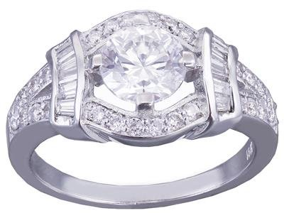 14k White Gold Round Cut Moissanite and Round and Baguettes Cut Diamond Engagement Ring Halo Wedding Bridal Deco Style 1.65ct Available sizes 4-12 (Deco Baguette)