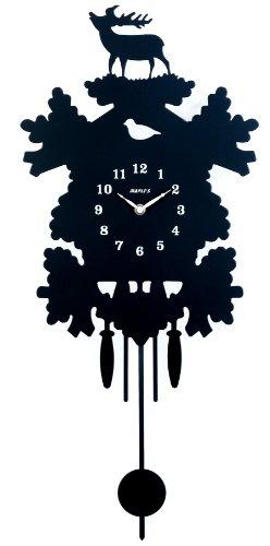12' Cuckoo Clock (Maple's Rustic Silhouette Metal Pendulum Wall Clock)