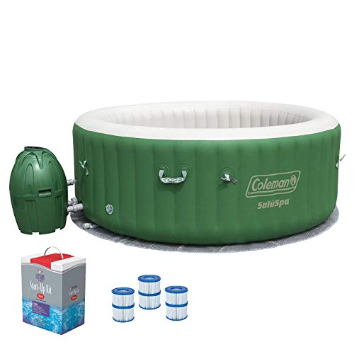 (Coleman SaluSpa 6 Person Inflatable Outdoor Spa, Filters, Chlorine Starter Kit )