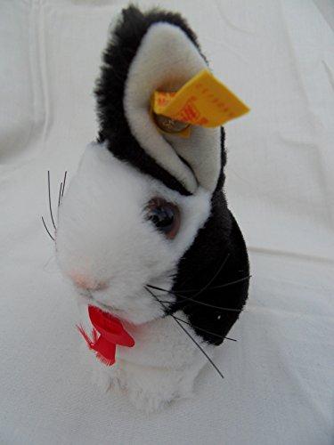 (Steiff Rabbit Miniature Button Flag Black White Made in Germany 1180)
