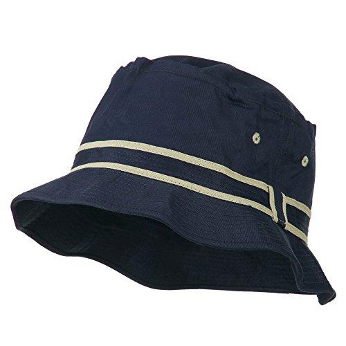 Striped Hat Band Fisherman Bucket Hat - Navy Khaki