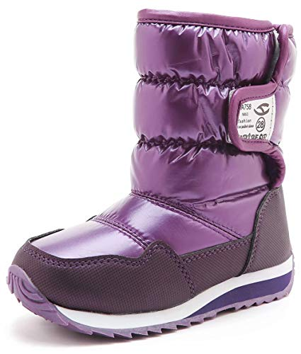BODATU Boys Girls Snow Boots Outdoor Waterproof Winter Kids Shoes Purple 2 Size - Boots Snow Two Thirty