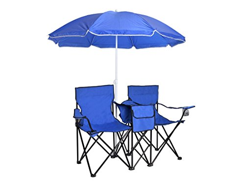 Picnic Double Folding Chair With Umbrella Table Fold Up Beach Chair