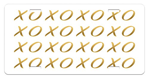 Xo License Plate by Ambesonne, Affection Sincerity Love Letter Figures with Old Fashioned Style Retro Effects Print, High Gloss Aluminum Novelty Plate, 5.88 L X 11.88 W Inches, Gold and White