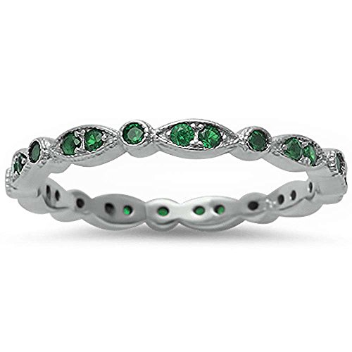 Emerald Silver Bands - 9