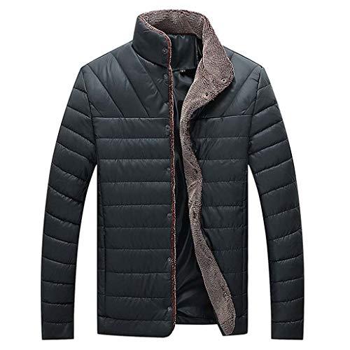 Lakes Park Halloween Train 2019 (FEDULK Men's Winter Warm Jacket Stand Collar Button Long Sleeve Parka Coat Outwear Tops(Black,)