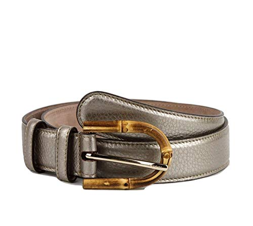 Gucci Women's Metallic Leather Belt with Bamboo Buckle 322954 9524 (85 / Women's 34)