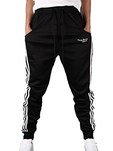 Elonglin Mens Jogging Training Trousers Track Pants Athletic Elastic Waist Black Size CA XL (Asia 3XL)