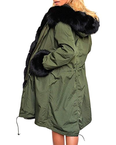 ZANZEA Abrigo Grueso Casual Elegante Invierno Primavera Algodón Capucha Bolsillos para Mujer Verde Militar con escote negro